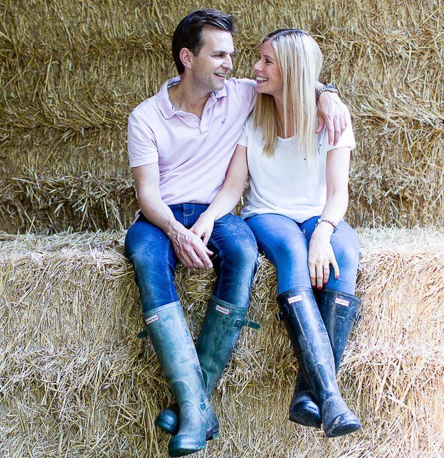 prep wedding couple on haystack