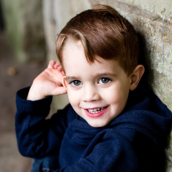 small boy natural and relaxed for photo